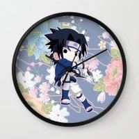 sasuke Wall Clocks featuring Chibi Sasuke Uchiha by Neo Crystal Tokyo