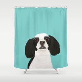 Black + White Cocker Spaniel Shower Curtain
