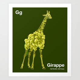 Gg - Girappe // Half Giraffe, Half Grape Art Print