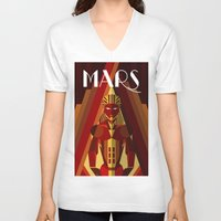mars V-neck T-shirts featuring Mars by Emanuel Afonso