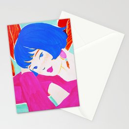 Short Hair Girl and Plants Stationery Cards