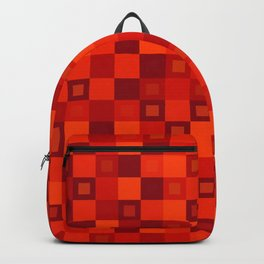 Wicker tile of red intersecting rectangles and dark bricks. Backpack