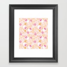 Flowers and dragonfly on blush Framed Art Print