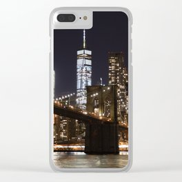 Brooklyn Bridge & WTC (Color) Clear iPhone Case