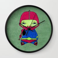 conan Wall Clocks featuring A Boy - Trap-Jaw by Christophe Chiozzi