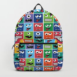 Cute Kids Monster Face Pattern Backpack