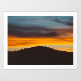 Mountain Hill With Trees Orange And Blue Sunset Clouds Art Print