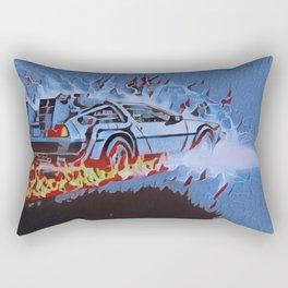 Back to the Future Car time travel Illustration Retro Style Rectangular Pillow
