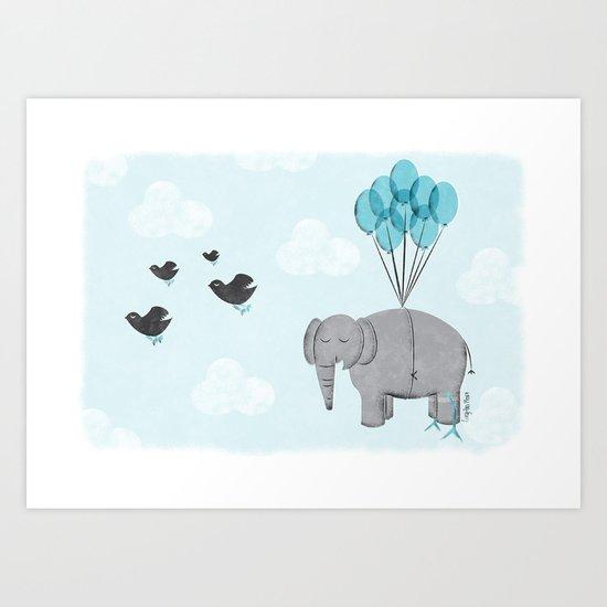 Elephant Bird Art Print