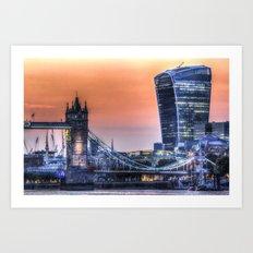 Tower Bridge and the Walkie Talkie Building Art Print