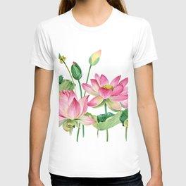 Watercolor pink lotus T-shirt