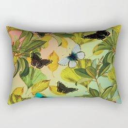Vintage Ginkgo Leaves and Butterflies Rectangular Pillow