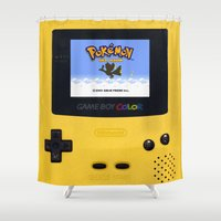 gameboy Shower Curtains featuring The Yellow Gameboy by bimorecreative