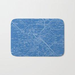 Paris Metro Map - Blue Bath Mat