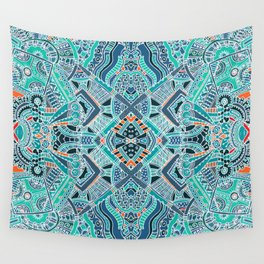 Tribal Bohemian Turquoise Blue Pattern Wall Tapestry