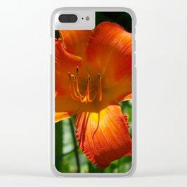 Fiery Daylily Flower - Hemerocallis 'Coleman Hawkins' Clear iPhone Case