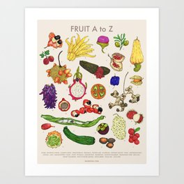 Bizarro Fruit - A to Z poster Art Print