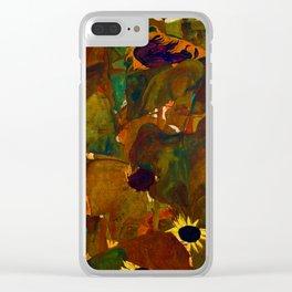Egon Schiele Sunflowers Clear iPhone Case