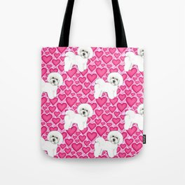 Bichon Frise Valentines Day Hearts in pink and red // Ideal valentines gift for Bichon Mom Tote Bag