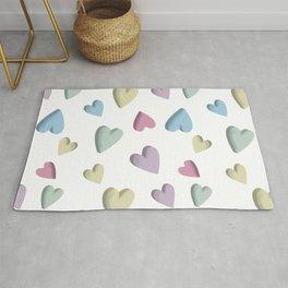 Conversation Hearts-Pastels-Pink-Blue-Yellow-Green Rug