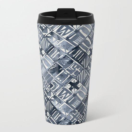 Simply Tribal Tiles in Indigo Blue on Lunar Gray Metal Travel Mug