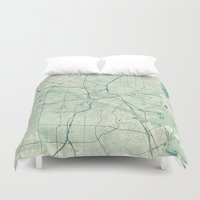 dallas Duvet Covers featuring Dallas Map Blue Vintage by City Art Posters