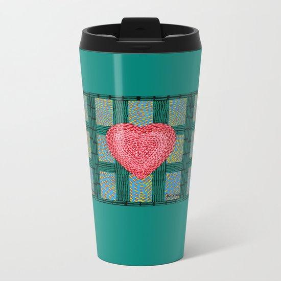 Teal and Pink Energy Heart Metal Travel Mug