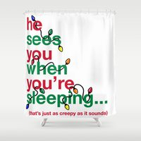 creepy Shower Curtains featuring Creepy by fishbiscuit