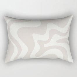 Liquid Swirl Contemporary Abstract Pattern in Mushroom Cream Rectangular Pillow