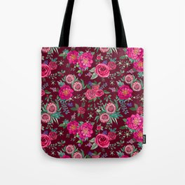 Burgundy Floral Thanksgiving , fall & winter floral in watercolor Tote Bag