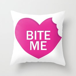 Bite Me Funny Pink Heart Shaped Candy Quote Humor Saying design Throw Pillow