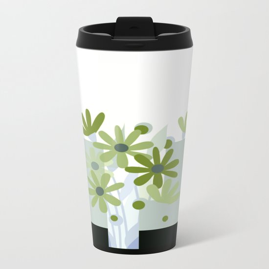 modern flowers in vase Metal Travel Mug
