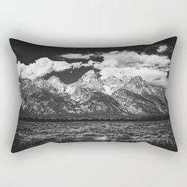 Mountain Summer Escape - Black and White Tetons Rectangular Pillow