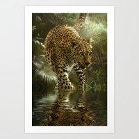 jaguar Art Prints featuring Jaguar by tarrby/Brian Tarr