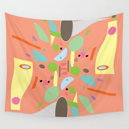 Peach Projection Abstract Wall Tapestry