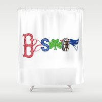 boston Shower Curtains featuring Boston by Michela Deck