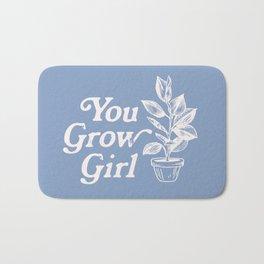 You Grow Girl Blue & Cream Bath Mat