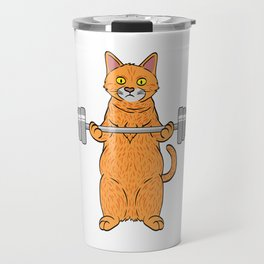 "Great Leg Day Shirt ""Cat"" T-shirt Design Dumbbell Injury Injured Crutches Funny Fitness Travel Mug"