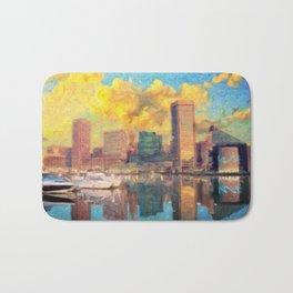 Baltimore Maryland Skyline Bath Mat