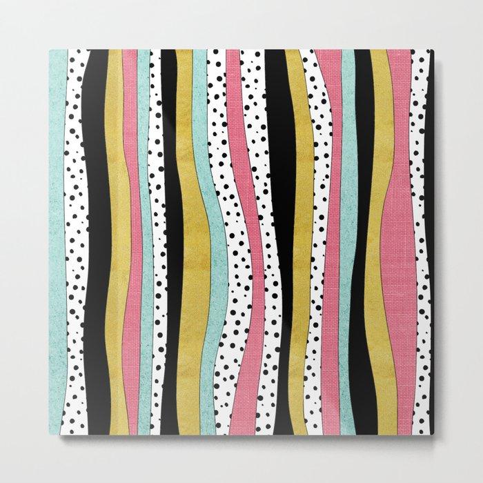 Polka Pink Blue Gold Wavy Stripes Metal Print