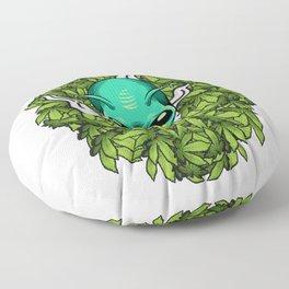 Alien Smoking Weed Funny Marijuana print Floor Pillow