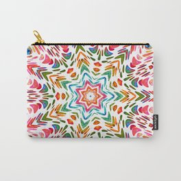 Colourful Floral Mandala Star Carry-All Pouch