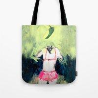 chile Tote Bags featuring Oración al chile by Violeta Rivera