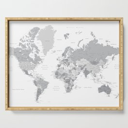 """Gray world map with cities, states and capitals, """"in the city"""" Serving Tray"""