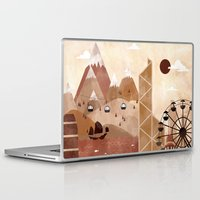 travel poster Laptop & iPad Skins featuring Hong Kong Travel Poster Illustration by ClaireIllustrations