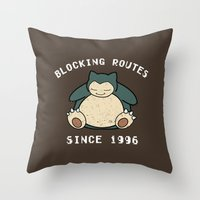 snorlax Throw Pillows featuring Snorlax by jeice27