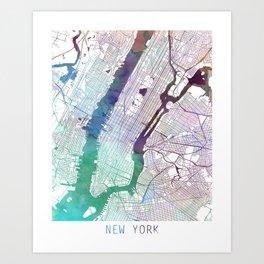 New York Map Watercolor by Zouzounio Art Art Print