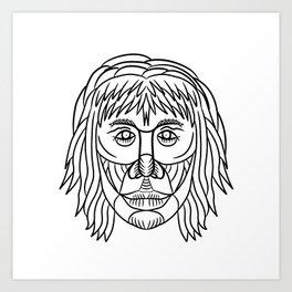Homo Habilis Face Front Drawing Art Print