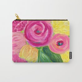 Bouquet of Flowers, Pink and Yellow Flowers, Painting Flowers in Vase Carry-All Pouch