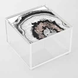 Gray Black White Agate with Rose Gold Glitter #1 #gem #decor #art #society6 Acrylic Box